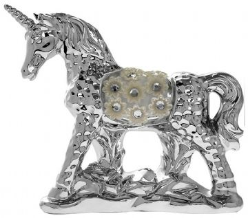 Silver Floral Diamante Unicorn STANDING 17cm Tall LP42645
